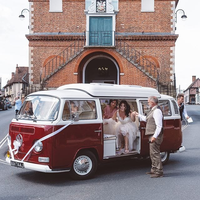 Great way to get to the wedding in Woodbridge with Confetti Campervans VW, Emma and Joey wedding @confetticampervans