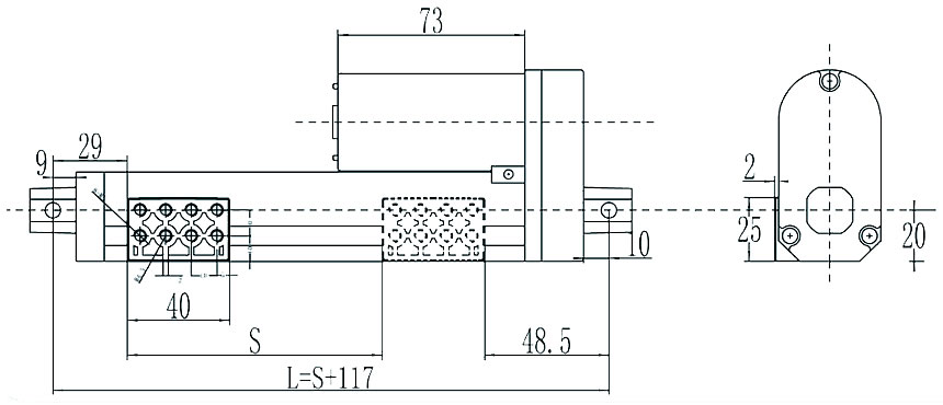 GLA650-TRK 12V DC 150mm Travel Sliding Track Actuator