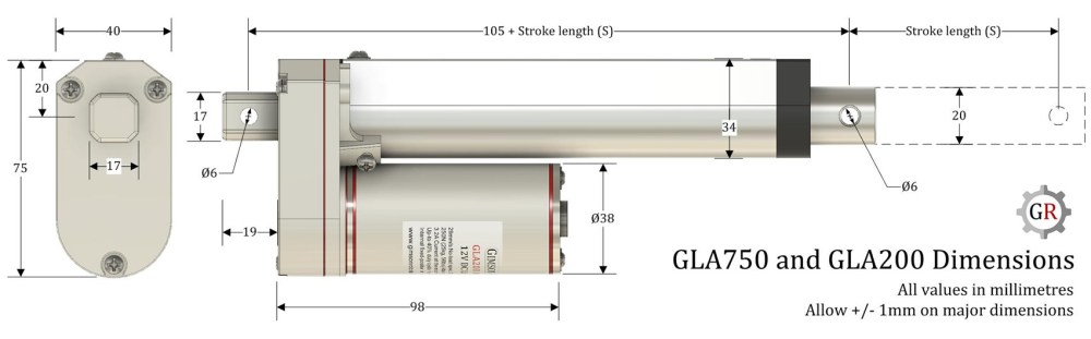 medium resolution of gla750 actuator dimensions installation length