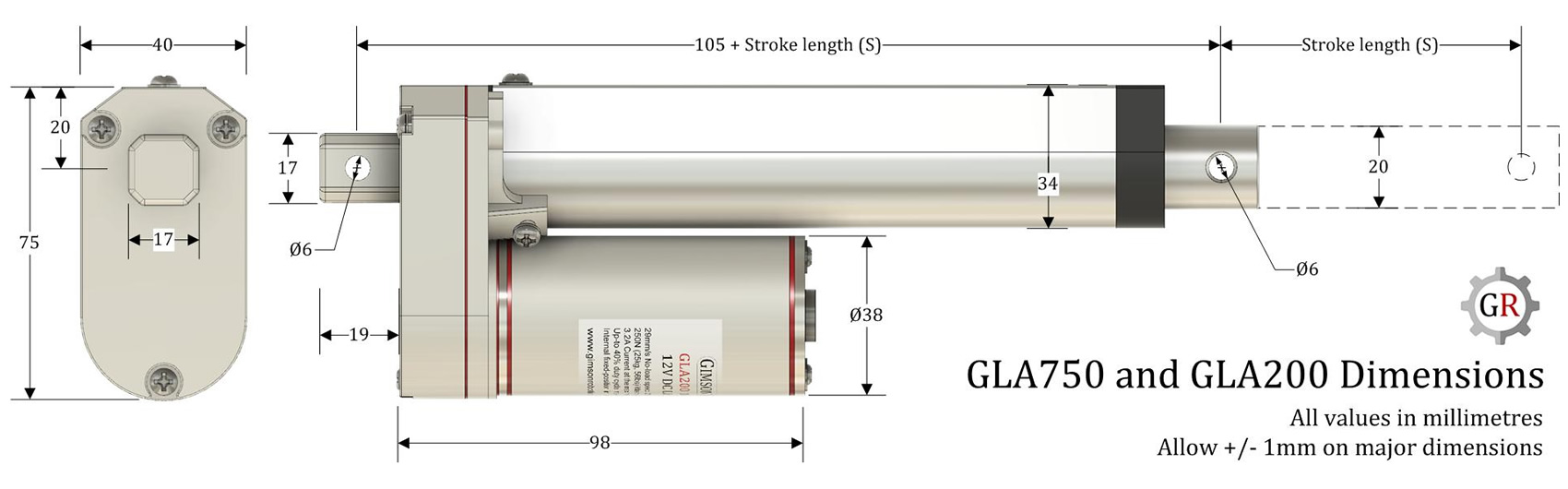hight resolution of gla750 actuator dimensions installation length