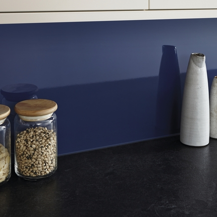 cabinet handles for kitchen hotels with in orlando gloss dark blue backboard | worktop backboards ...