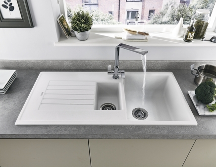 kitchen sink disposal knife sets lamona white granite composite 1.5 bowl | howdens joinery