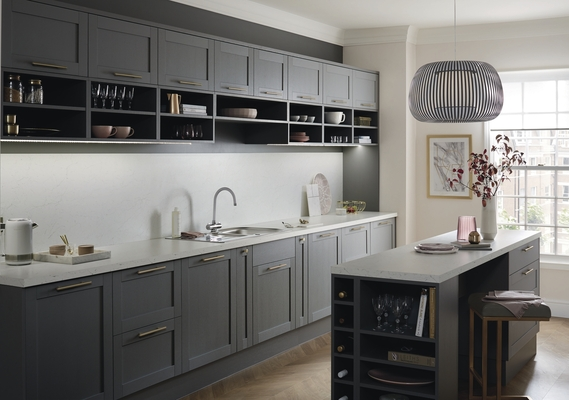 kitchen island breakfast bar industrial hoods stainless steel allendale slate grey | shaker kitchens howdens ...