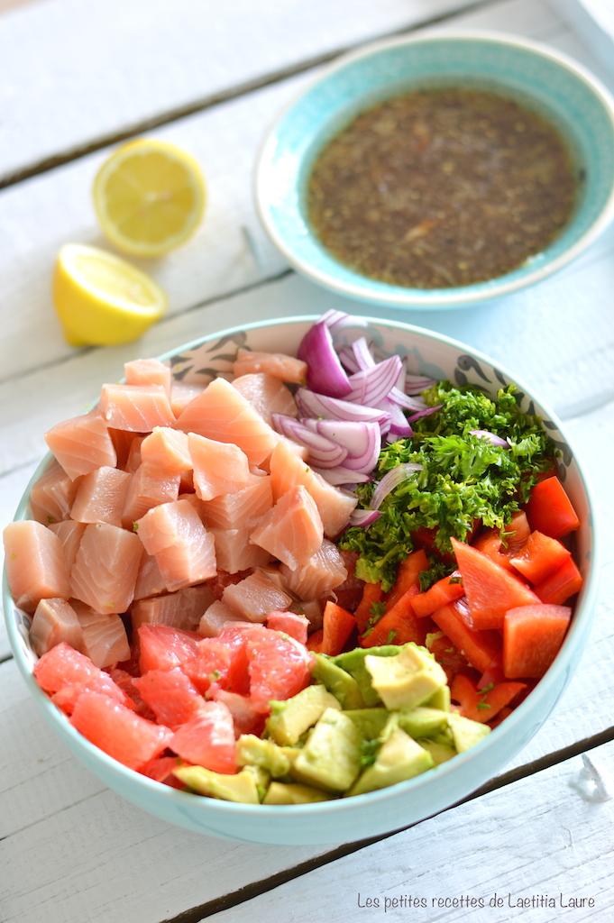 Recettes de cuisine Hawaenne par Les petites recettes de Laetitia Laure  Poke Bowl au saumon