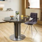 Luxury Extending Dining Table Round Oval Grey Gloss Glass Top 1 2mt Ebay