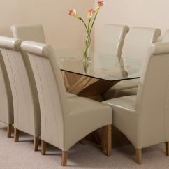 Glass And Wood Dining Table Chairs Revolving Chair Png Valencia Large Oak 200cm Modern 8