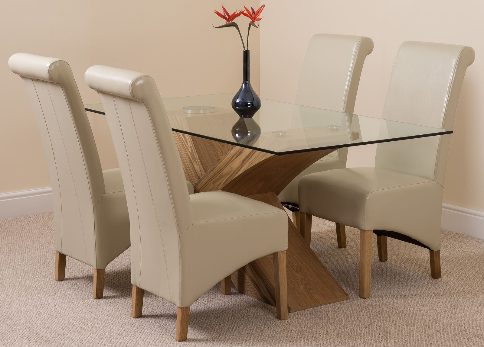glass and wood dining table chairs childrens wooden valencia small oak 160cm modern 4