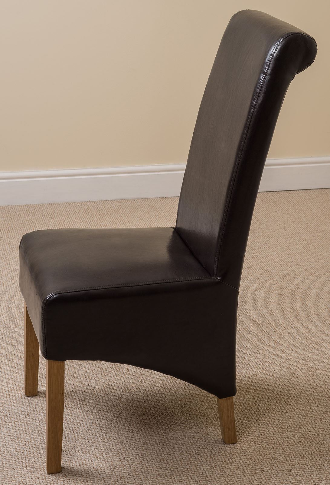 Dining Room Chairs Leather Montana Scroll Back Black Leather Dining Room Chairs