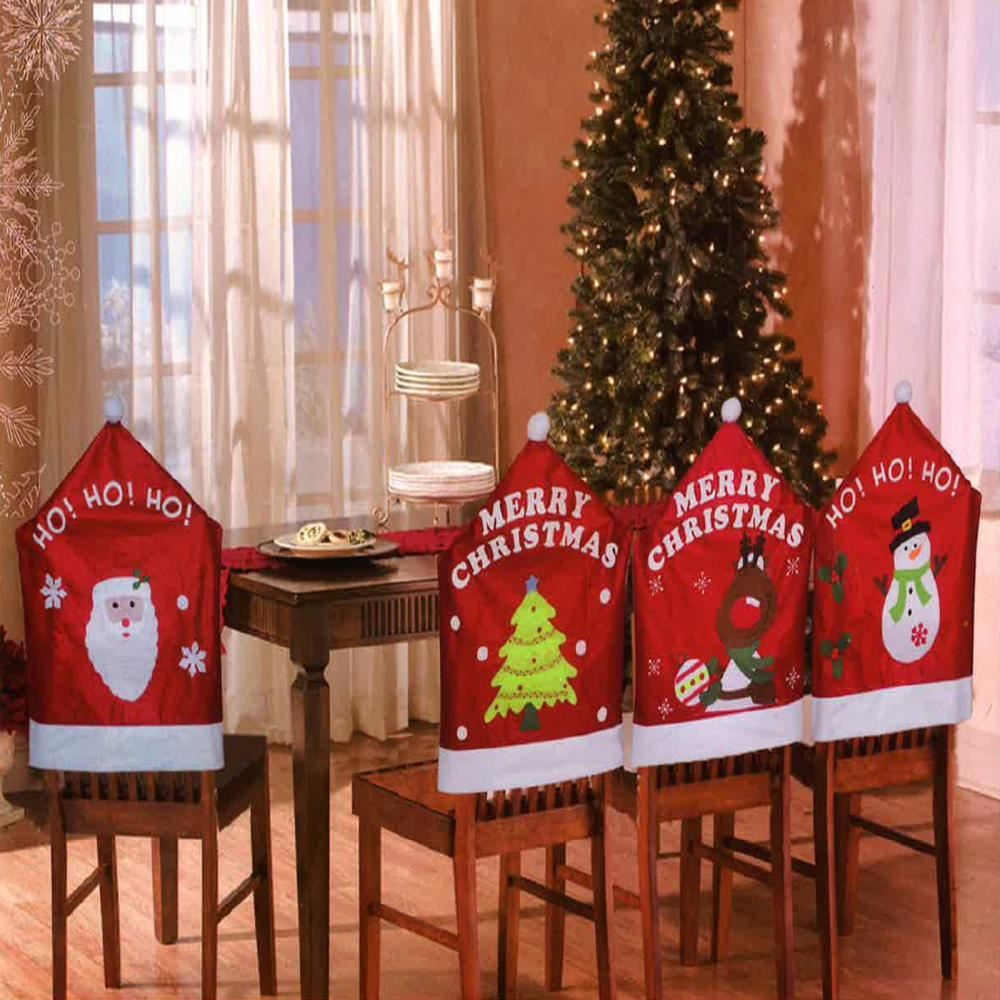 christmas chair covers ebay cover hire sheffield 4 x theme hat back xmas dinner party table decoration set |
