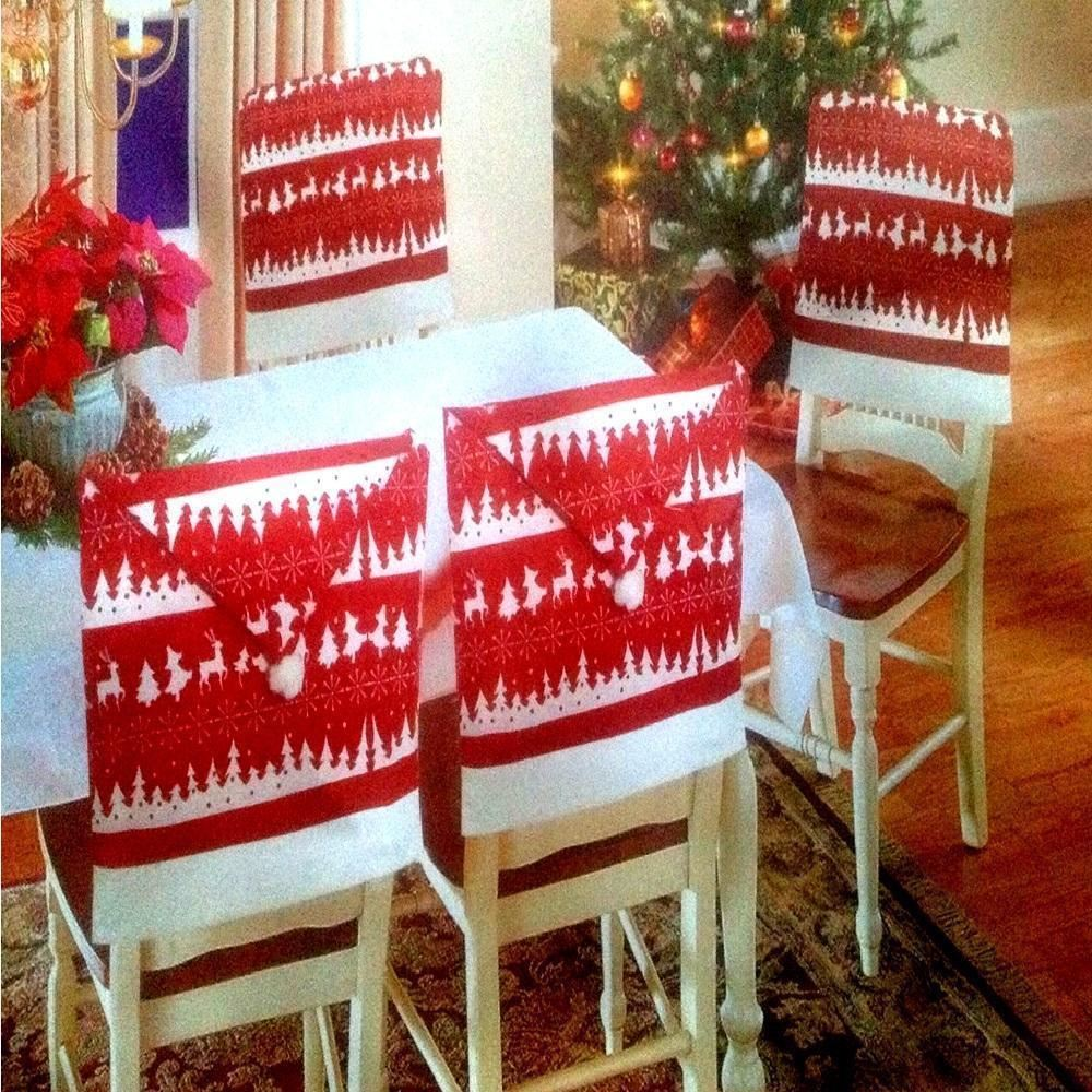 amazon xmas chair covers kids barber 4 x christmas theme hat back party dinner table decoration set | ebay