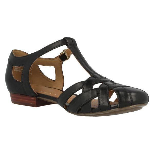 Ladies Clarks Leather T-bar Closed Toe Summer Sandals