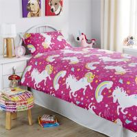 Unicorn Duvet Cover Set, Girls Quilt Cover Unicorn Bedding ...