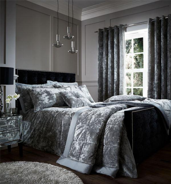 Crushed Velvet Duvet Quilt Cover Set Bed Linen Double