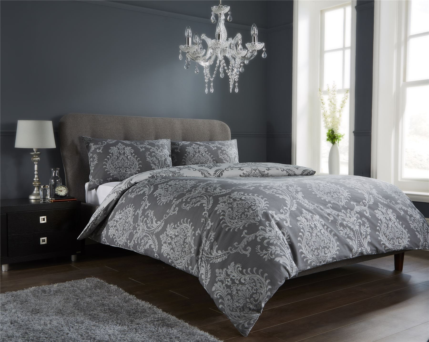 Damask Duvet Quilt Cover Set Bed Linen Double King Size