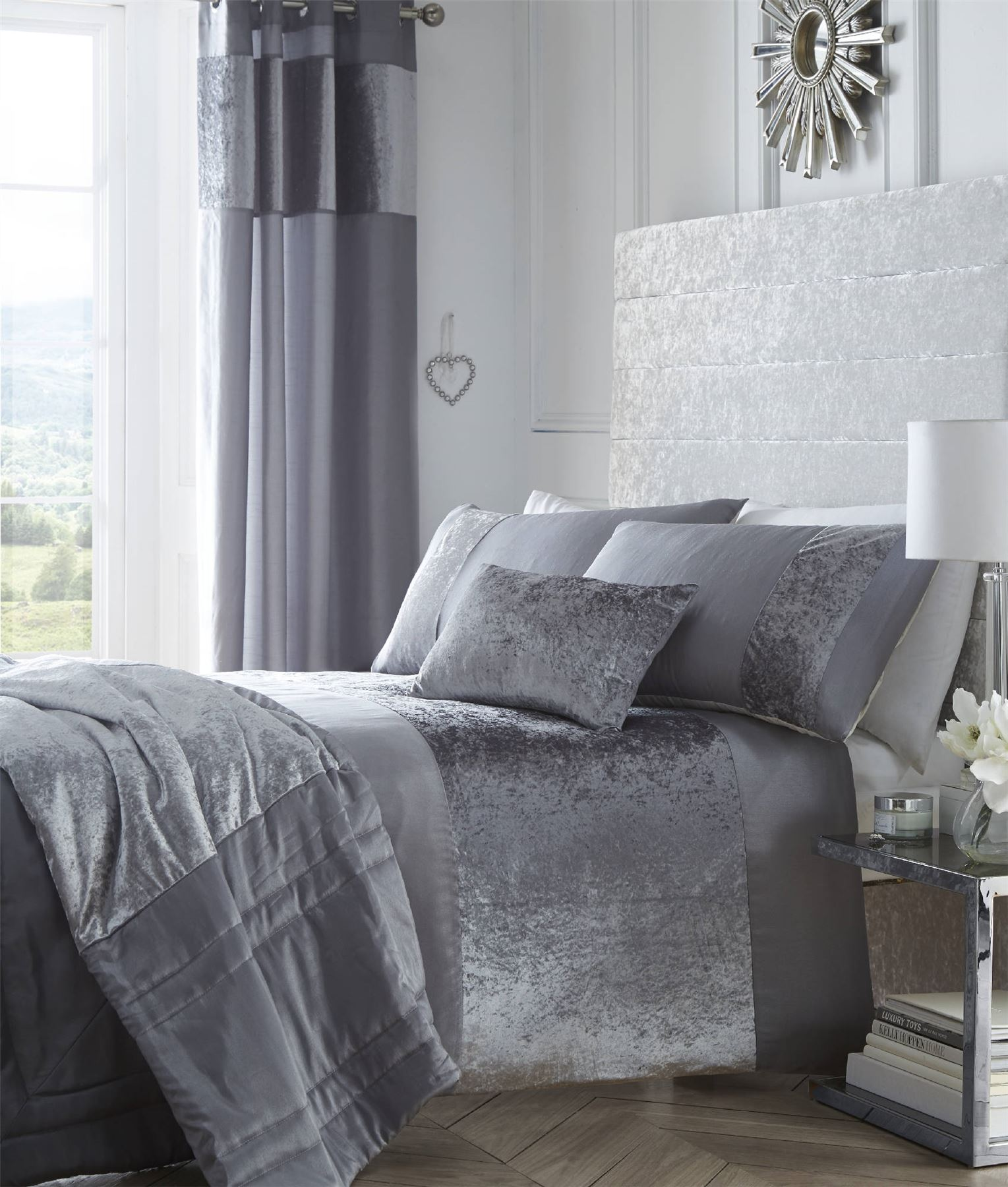 grey crushed velvet chair covers cover ideas luxury panel duvet bedding set