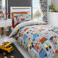 Big Digger Trucks Tractor JCB Boys Kids Grey Blue Duvet ...