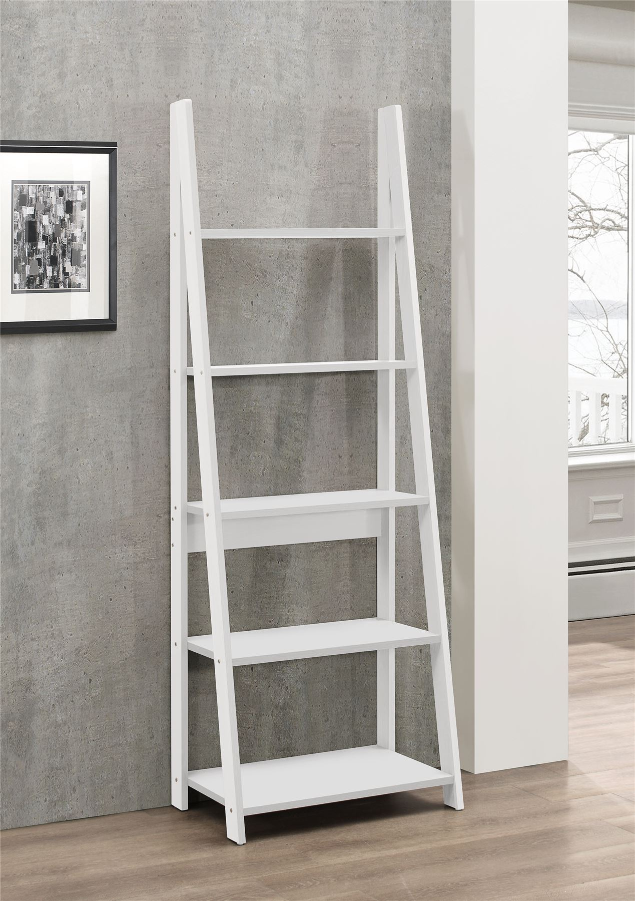 Birlea Nordic Scandinavian Retro Ladder Bookcase Shelving Shelf Unit White EBay