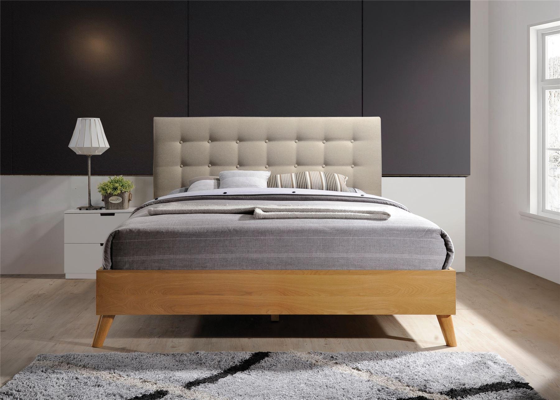 Gino Bed Frame Beige Fabric Oak Wood King Size 5FT 150cm