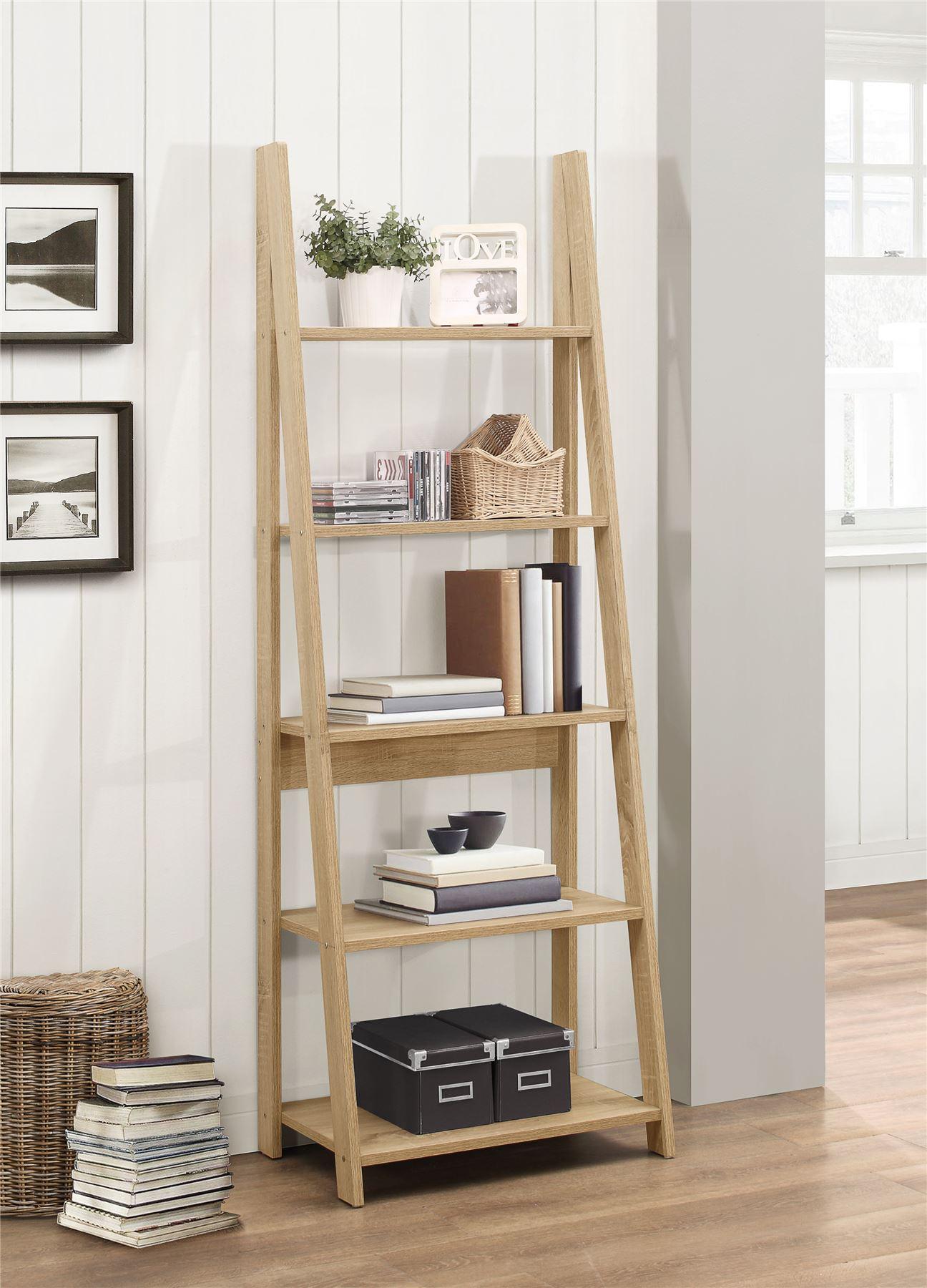Birlea Nordic Scandinavian Retro Ladder Bookcase Shelving