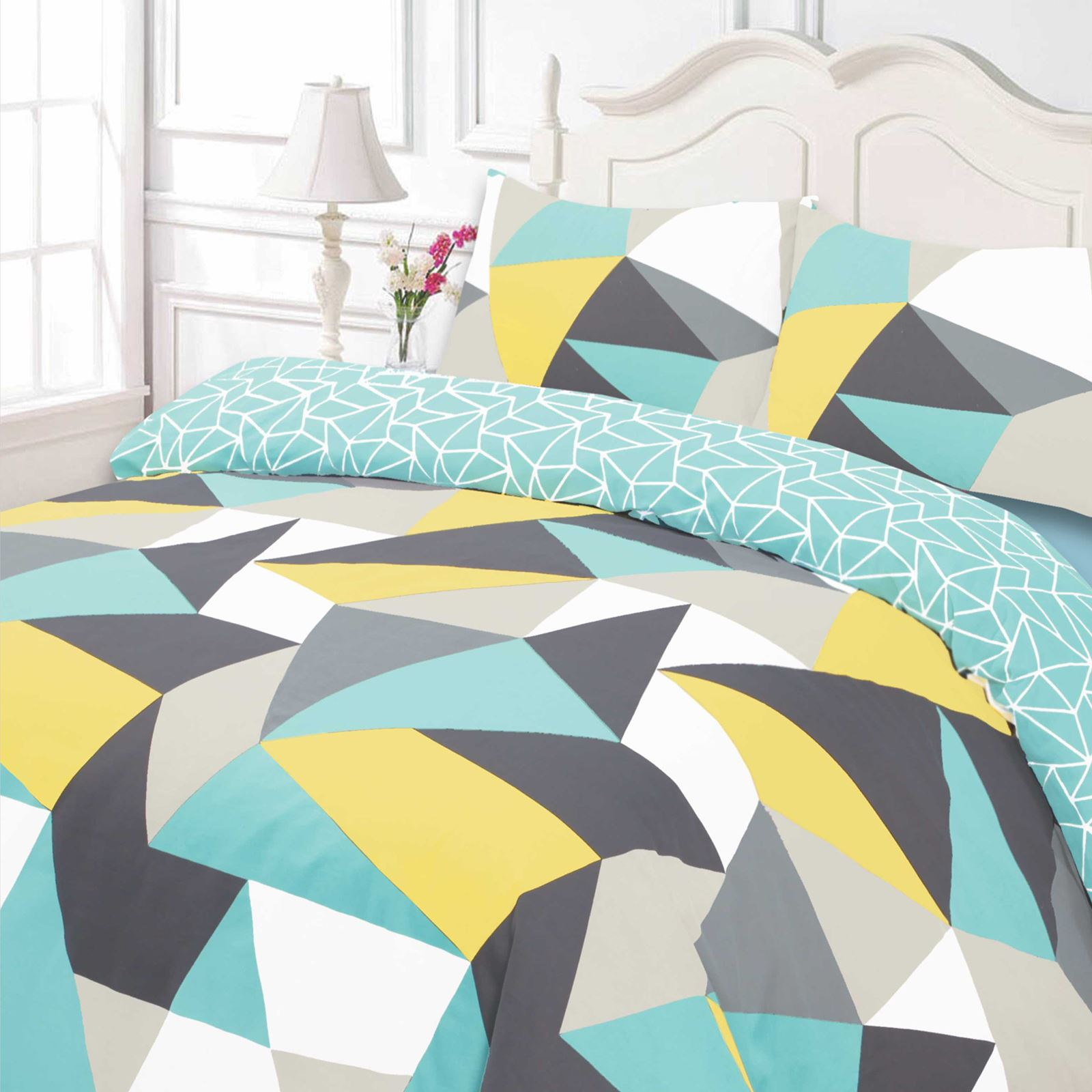 Duvet Cover With Pillow Case Geometric Shapes Reversible Blue White Bedding Set Ebay