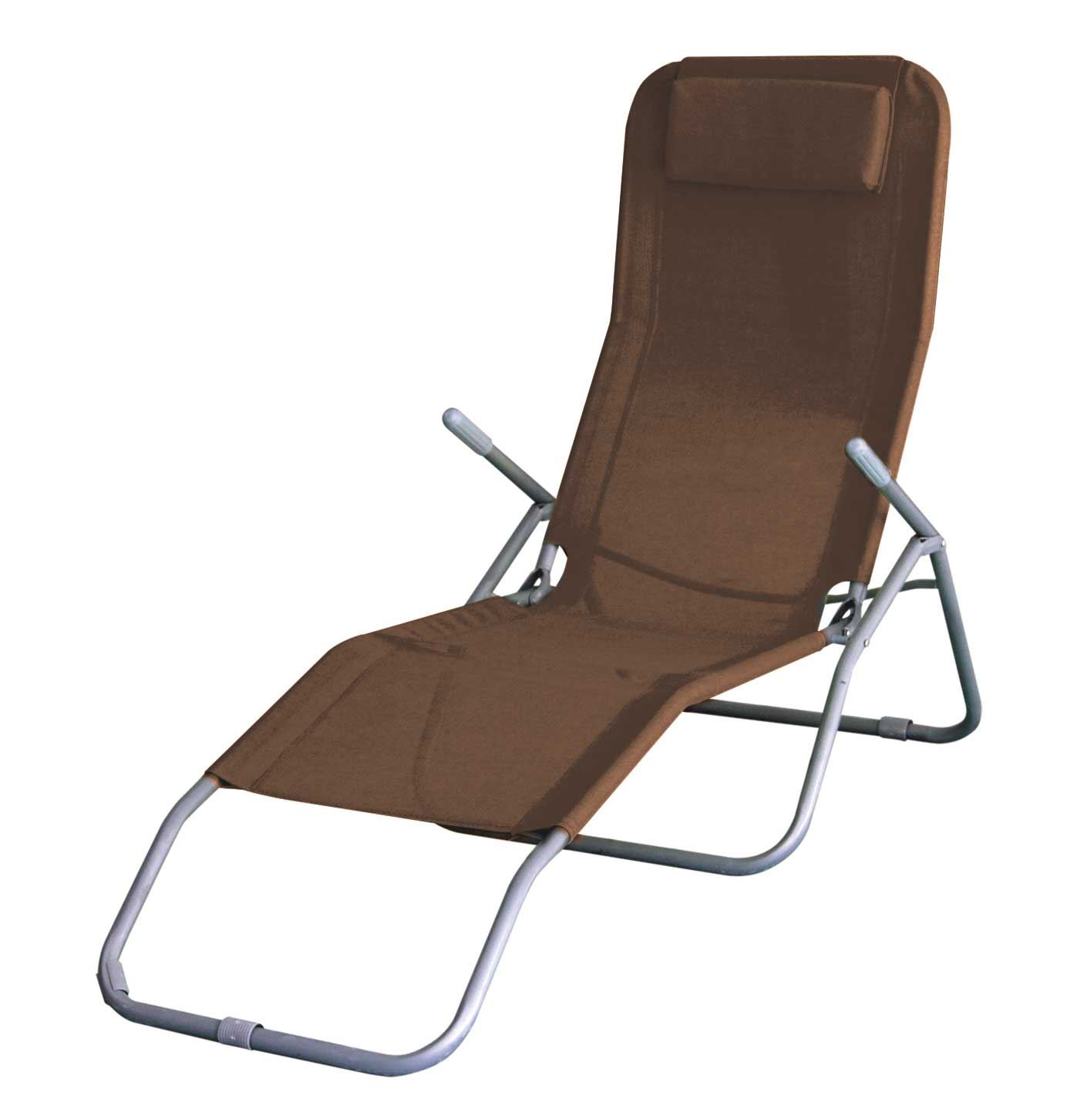 Beach Lounger Chair Folding Sun Lounger Recliner Chair Bed Armrest Garden