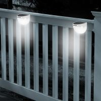 Solar Powered Fence Light LED Dual Path Gutter Lamp Wall ...