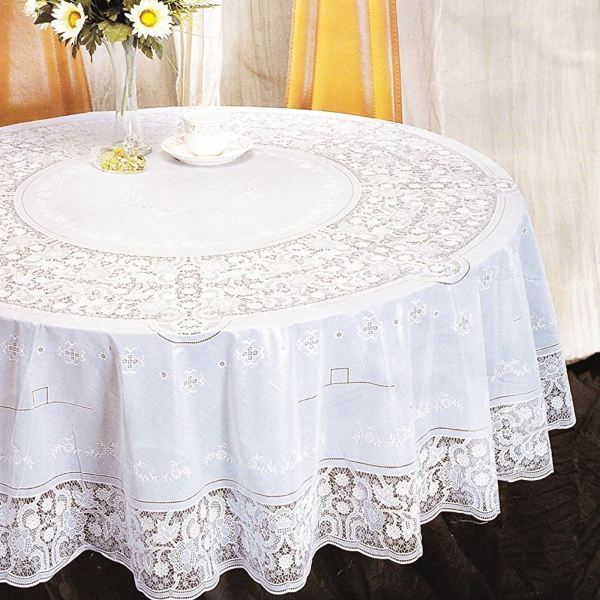 Vinyl Lace Tablecloth Table Cover White Square Oval