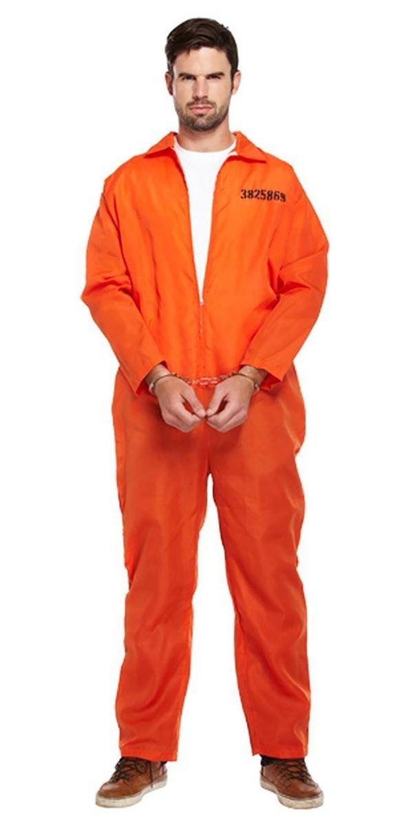 Adults Classic Orange Prisoner Jumpsuit Prison Inmate