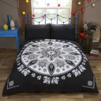 Bohemian Mandala Black Oriental Asian Indian Style Bedding