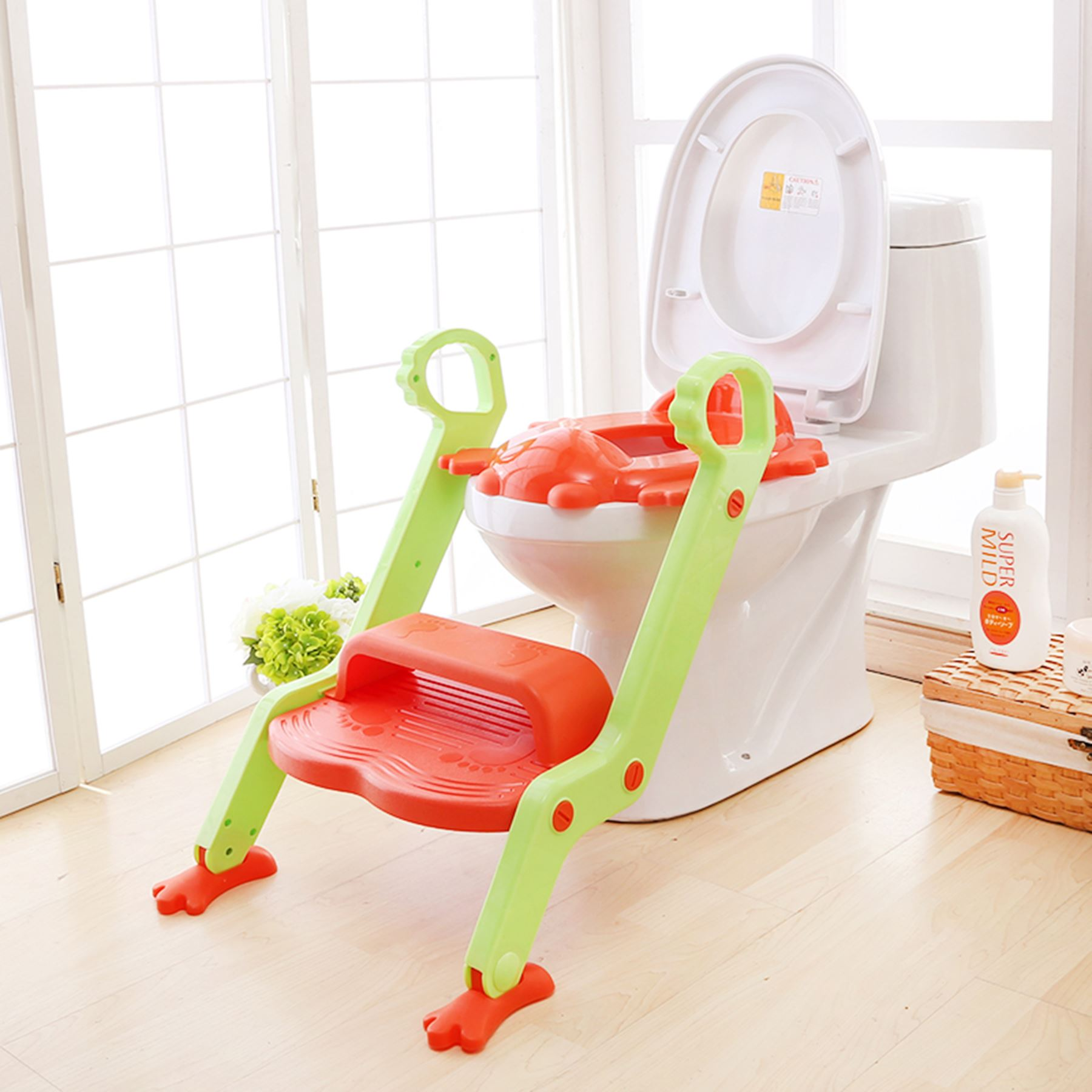 frog potty chair ipad stand for baby toddler toilet training seat 2 step ladder