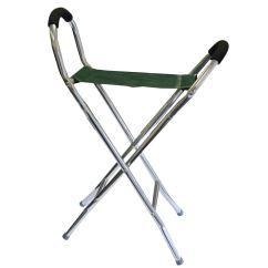 Walking Stick Seat Stool Chair Brown Leather Lightweight Folding Hiking