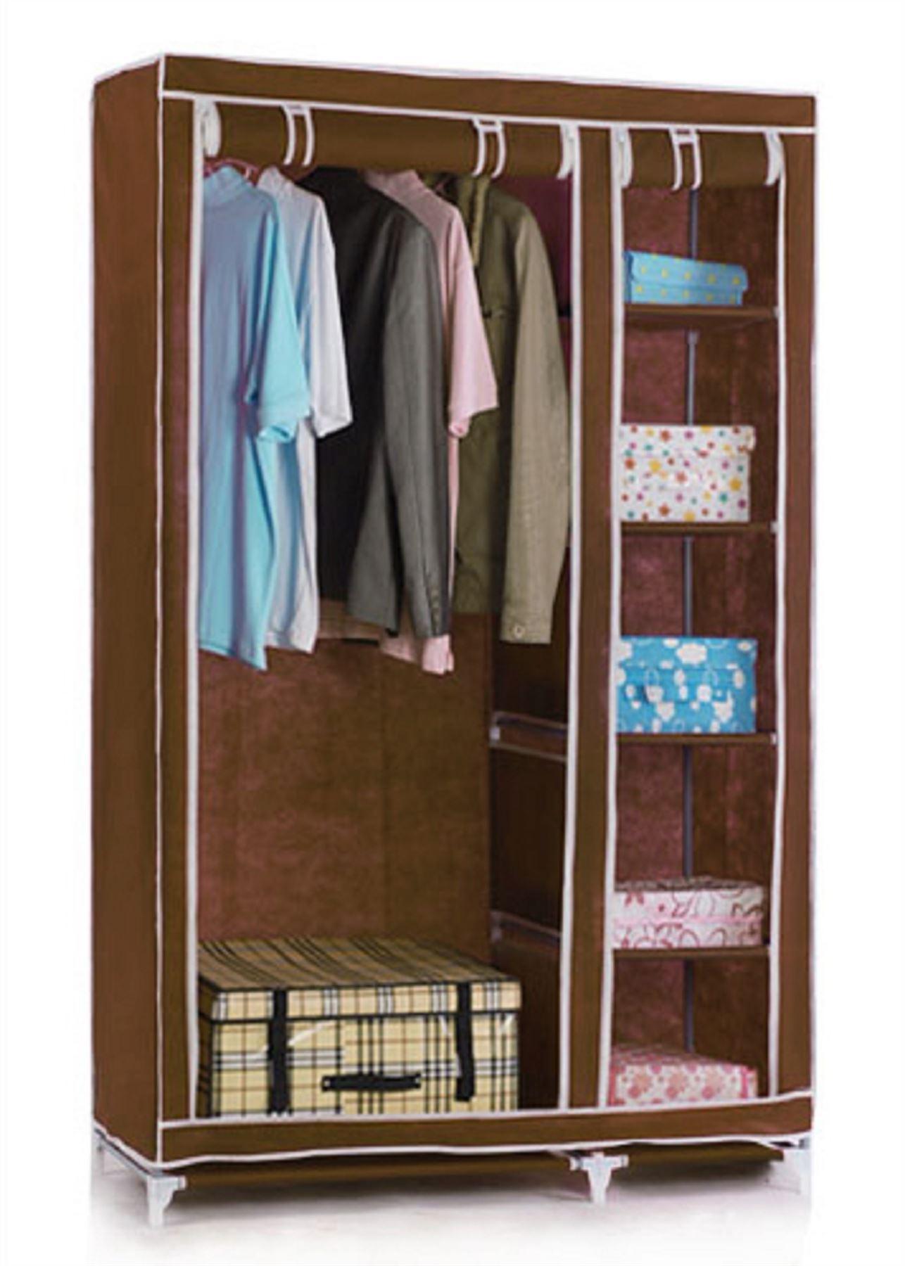 Vinsani Double Canvas Wardrobe Clothes Cupboard Hanging Rail Storage  eBay