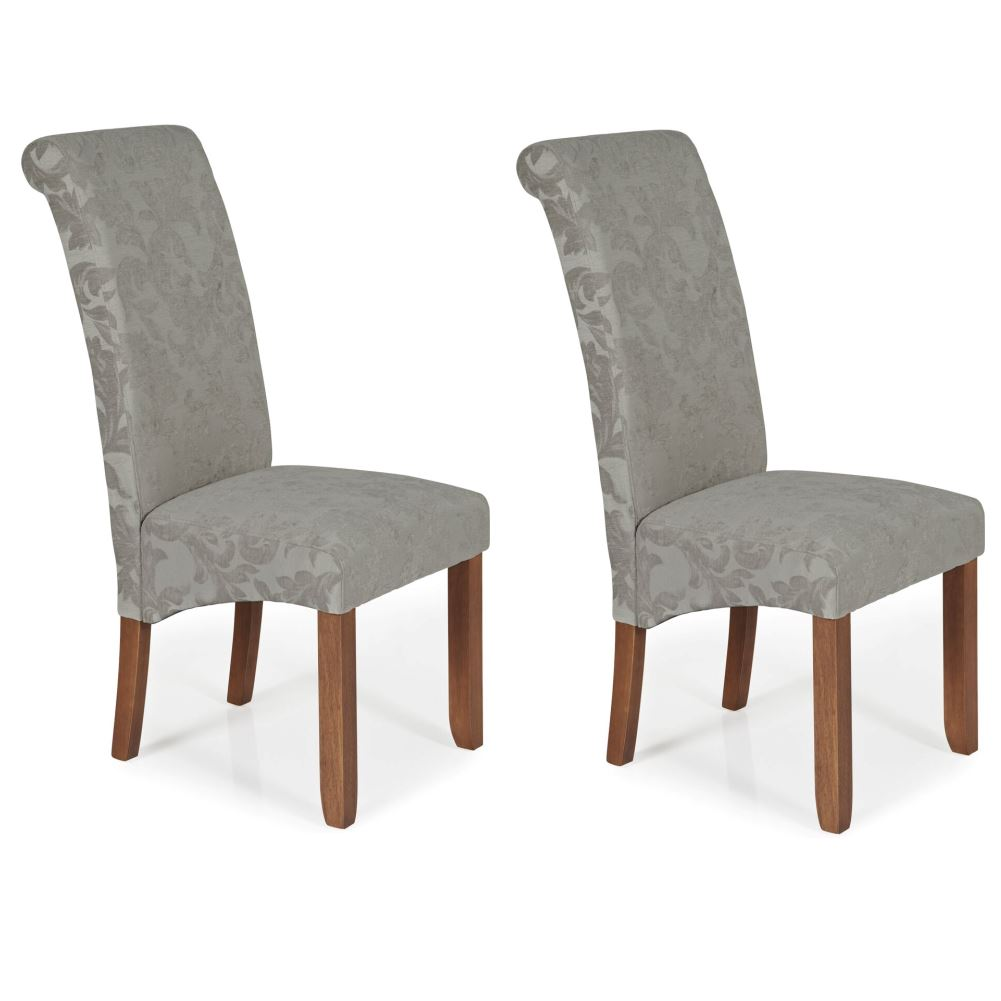 Silver Dining Chairs Details About Pair Of Kingston Silver Floral Fabric Dining Chairs With Walnut Hevea Legs