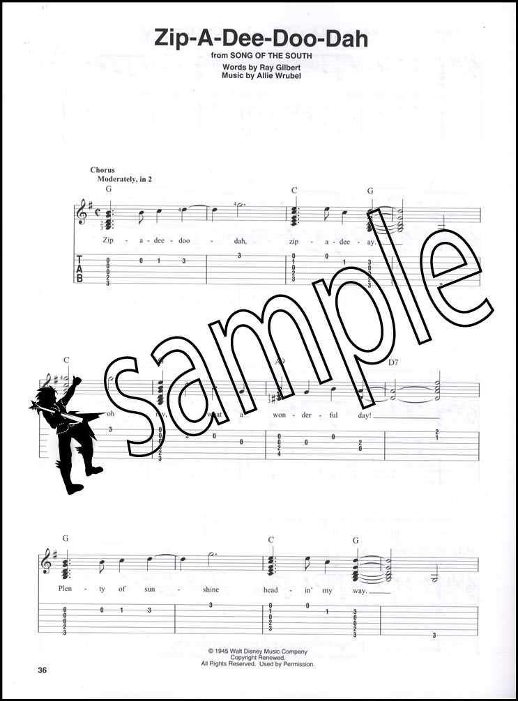 Disney Songs Beginning Solo Guitar Chord Melody Songbook