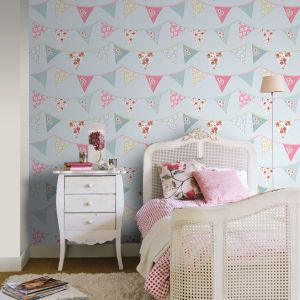 bedroom floral unicorn rasch heart pastel themed feature glitter bunting papel parati carta bandierine tapete azul pintado chic rosa blanco