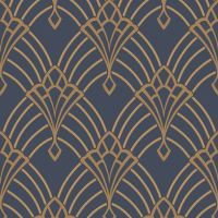 ASTORIA ART DECO WALLPAPER DARK BLUE / GOLD