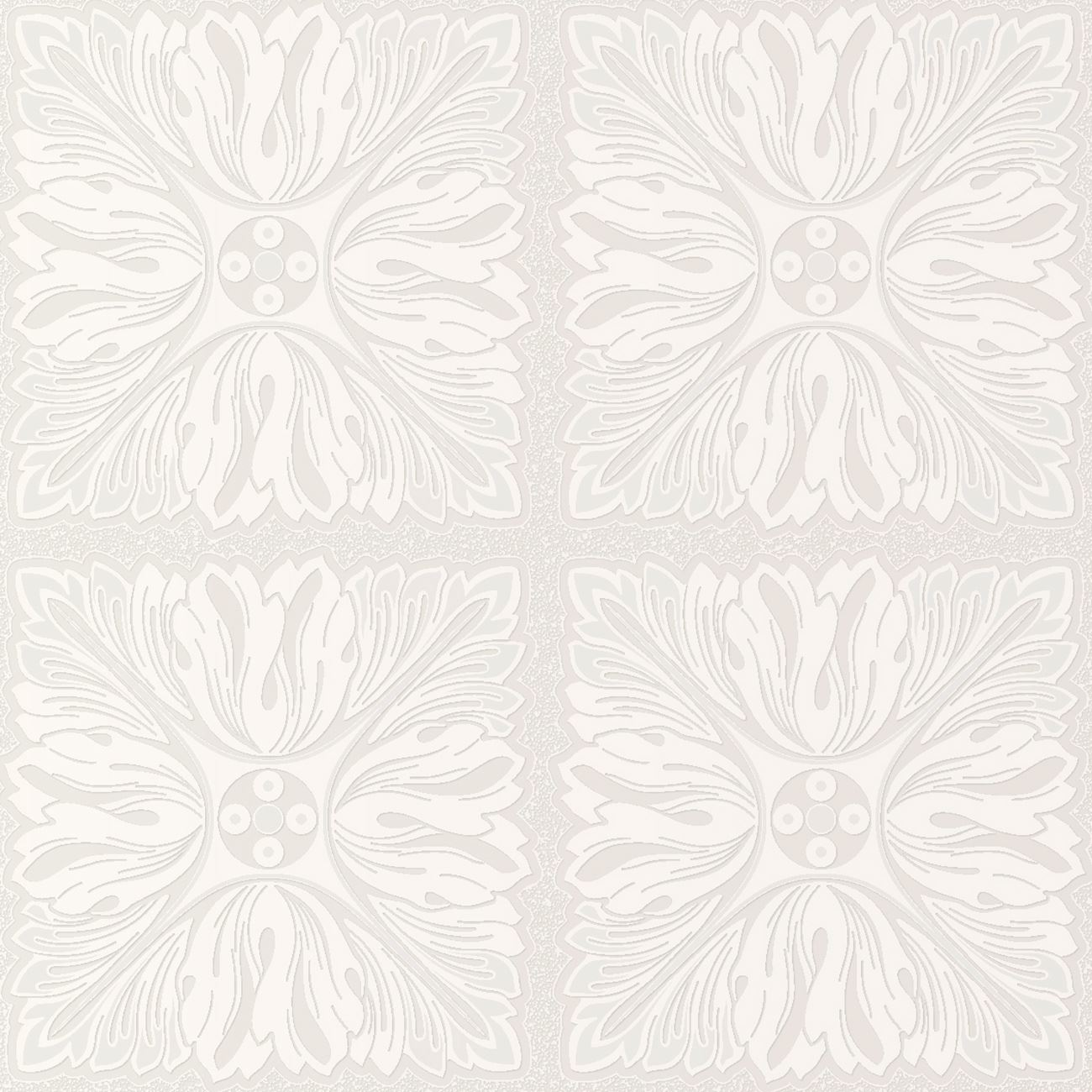 Glitter Whites Floral Square Pattern Textured Wallpaper