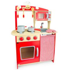 Kids Play Kitchen Accessories Acrylic Cabinets Wooden 39chef 39 Red With By Leomark