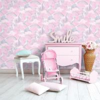 UNICORNS HORSES WALLPAPER KIDS GIRLS BEDROOM - LILAC PINK ...