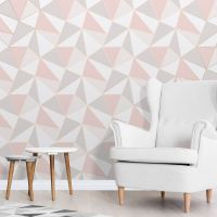 APEX GEOMETRIC WALLPAPER ROSE GOLD / PINK - FINE DECOR ...