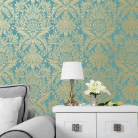 TEAL & DUCK EGG WALLPAPER - GLITTER METALLIC FEATHERS ...
