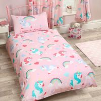 KIDS SINGLE DUVET COVER SETS BOYS GIRLS BEDDING UNICORN