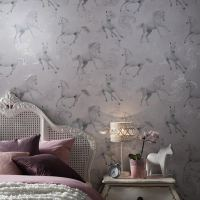 GIRLS CHIC WALLPAPER KIDS BEDROOM FEATURE WALL DECOR ...