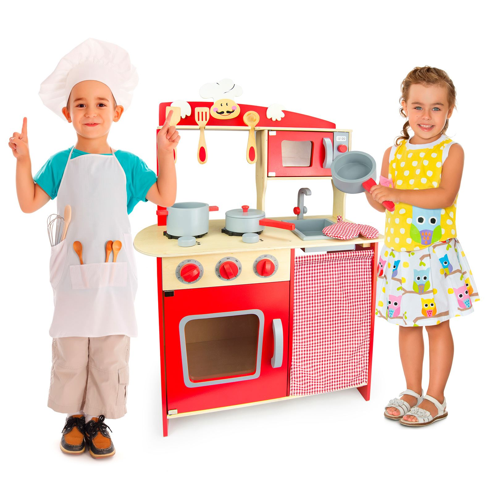 kids play kitchen accessories ikea rug wooden 39chef 39 red with by leomark