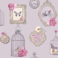 ARTHOUSE MADELINE FRAMES SHABBY CHIC WALLPAPER BIRD CAGE ...