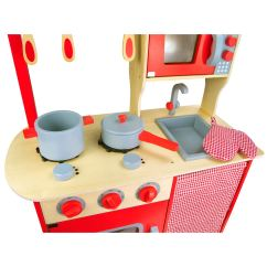 Kids Play Kitchen Accessories Lowes Hood Wooden 39chef 39 Red With By Leomark