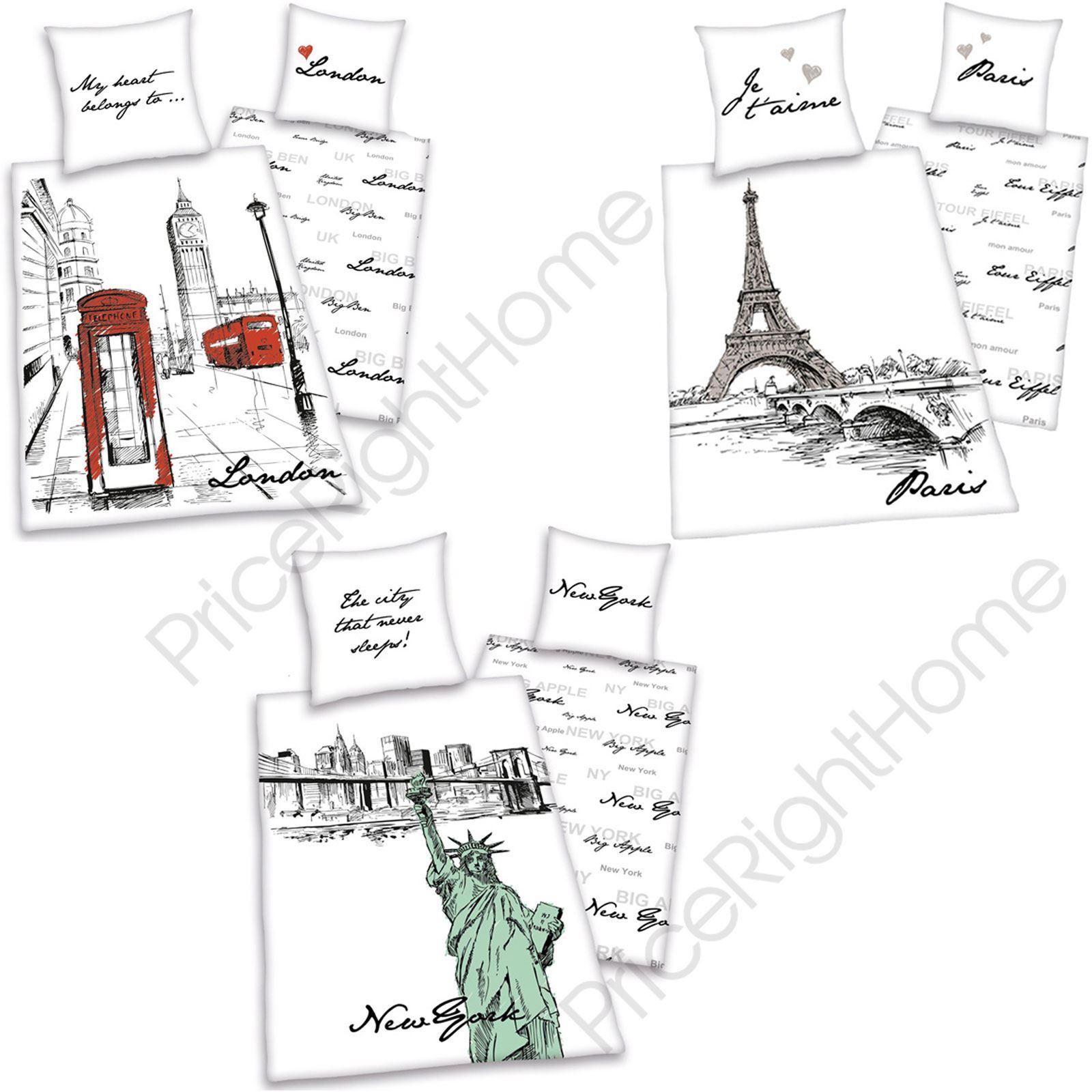 World City Art Cotton Single Reversible Duvet Cover Sets