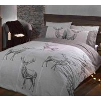 HIGHLAND STAG DOUBLE DUVET COVER SETS RED GREY CHARCOAL ...