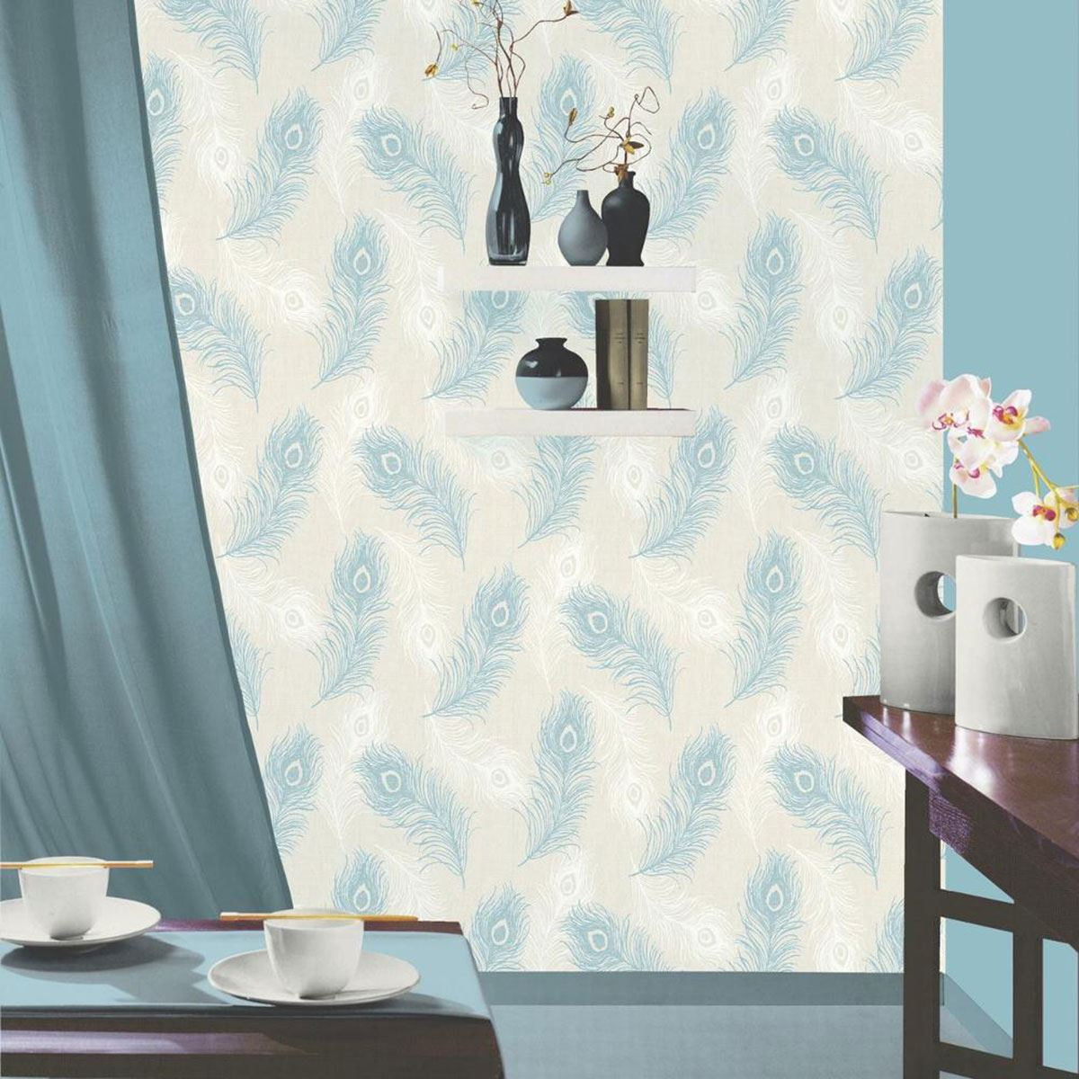 DEBONA VIOLA FEATHER WALLPAPER BLACK TAUPE TEAL FEATURE WALL DECOR EBay