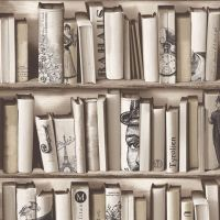 BOOKCASE PATTERN WALLPAPER WHITE, NATURAL FEATURE WALL ...